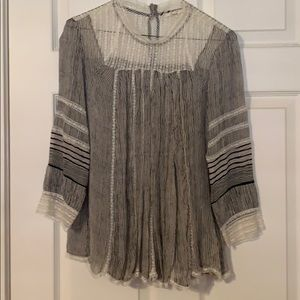 Anthropology Sheer Lace Top